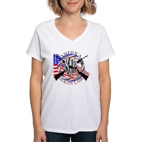 Molon Labe America 2nd Amen Women's V-Neck T-Shirt
