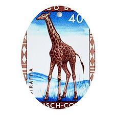 Vintage 1959 Belgian Congo Giraffe P Oval Ornament
