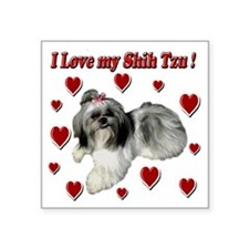 "I Love my Shih Tzu- Ily Square Sticker 3"" x 3"""