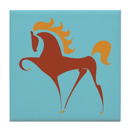 Horse Tile Coaster: Stylized Reddish Horse