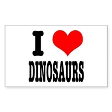 I Heart (Love) Dinosaurs Rectangle Decal