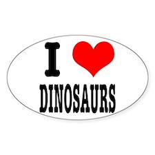 I Heart (Love) Dinosaurs Oval Decal