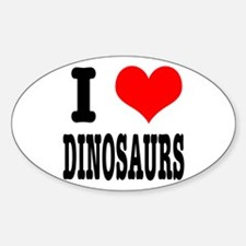 I Heart (Love) Dinosaurs Oval Decal