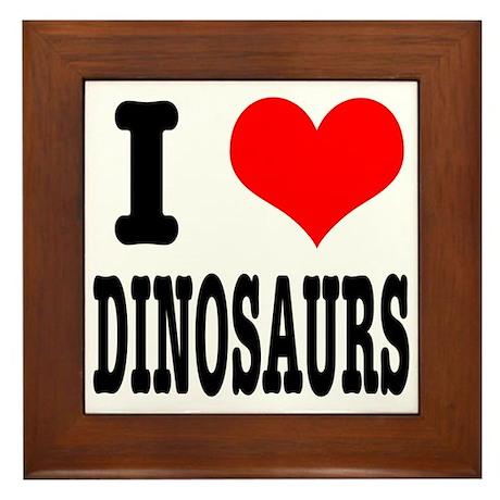 I Heart (Love) Dinosaurs Framed Tile