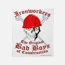 Ironworkers Skull Hardhat, Cross Wre Throw Blanket