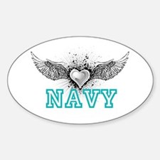 Navy + wings Oval Decal