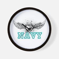 Navy + wings Wall Clock