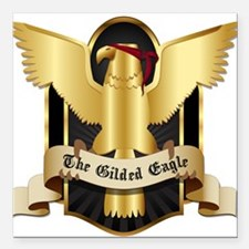 "Gilded Eagle Square Car Magnet 3"" x 3"""