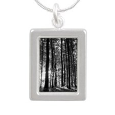 Black and White Forest Silver Portrait Necklace