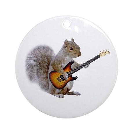 Squirrel Guitar Ornament (Round)