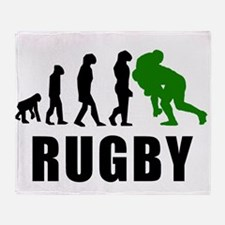 Rugby Tackle Evolution (Green) Throw Blanket