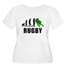 Rugby Tackle Evolution (Green) Plus Size T-Shirt