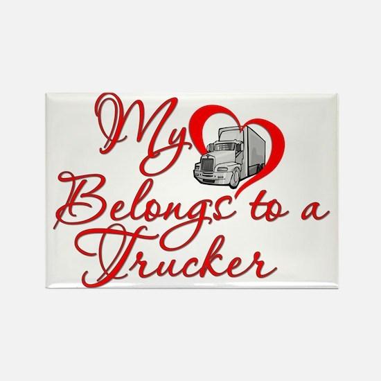 Trucker Heart Rectangle Magnet