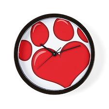 pet paw heart Wall Clock