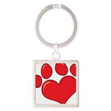 pet paw heart Square Keychain