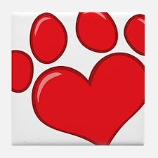 pet paw heart Tile Coaster