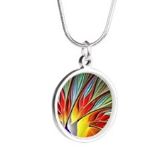 Fractal Bird of Paradise 2 Silver Round Necklace