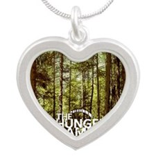 Womens FB Hungergames1 Silver Heart Necklace