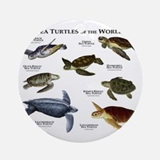Sea Turtles of the World Round Ornament
