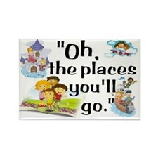 Read- Oh the Places Rectangle Magnet