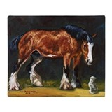 Clydesdale horse and cat Fleece Blankets