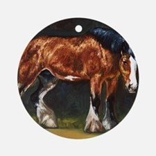 Clydesdale Horse and Cat Round Ornament