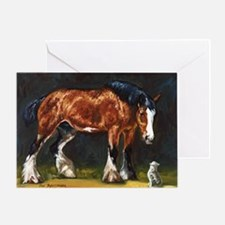 Clydesdale Horse and Cat Greeting Card