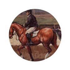 """Thoroughbred Jumping Horse 3.5"""" Button"""