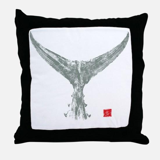 tuna tail on black Throw Pillow