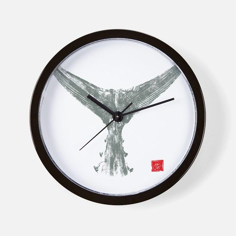 tuna tail on black Wall Clock