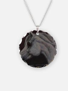 Gray Arabian Stallion Head P Necklace