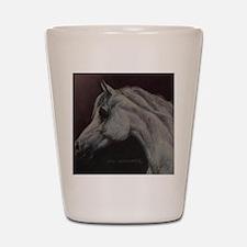 Gray Arabian Stallion Head Profile Shot Glass