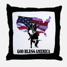 God Bless America Bullrider Throw Pillow