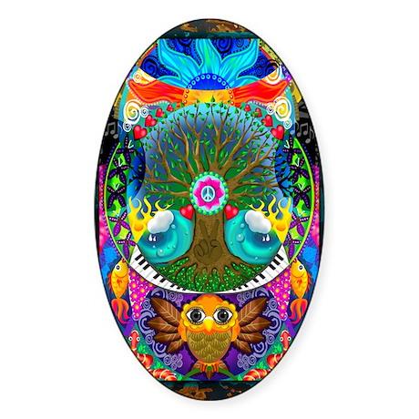 Trippy Tree Owl Sticker (Oval)