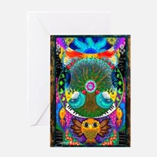 Trippy Tree Owl Greeting Card