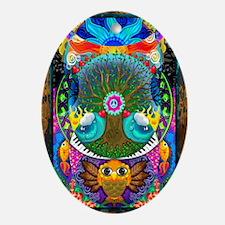 Trippy Tree Owl Oval Ornament