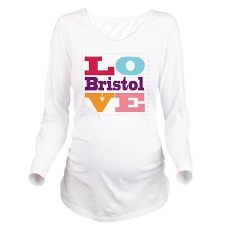 I Love Bristol Long Sleeve Maternity T-Shirt