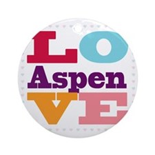 I Love Aspen Round Ornament