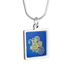 Bombay Blue Silver Square Necklace