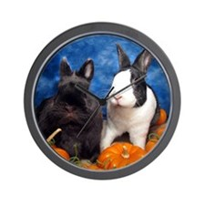 Tiny Tim and Dixie in Pumpkin Patch-Ful Wall Clock