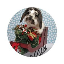 Dudley in Winter Sleigh-Full Round Ornament