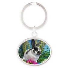 Buttercup Bunny on Lily Pads-1-full Oval Keychain