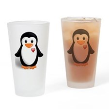 penguin with heart Drinking Glass
