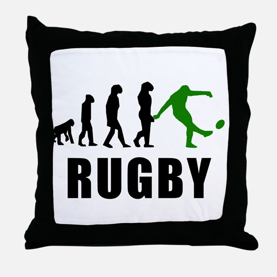 Rugby Kick Evolution (Green) Throw Pillow