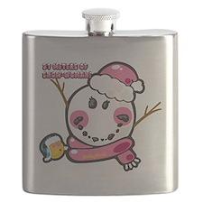Snow woman Smiley Flask