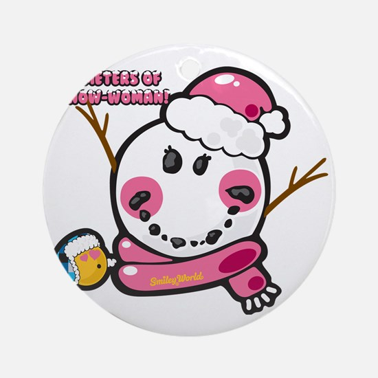 Snow woman Smiley Round Ornament