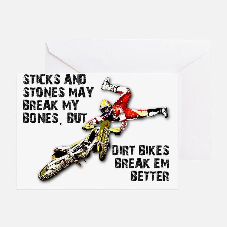 Sticks And Stones Dirt Bike Motocros Greeting Card