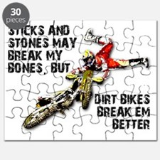 Sticks And Stones Dirt Bike Motocross T-Shi Puzzle