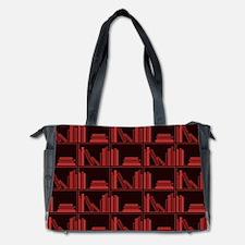 Books on Bookshelf, Dark Red. Diaper Bag