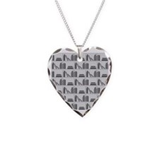 Books on Bookshelf, Gray. Necklace